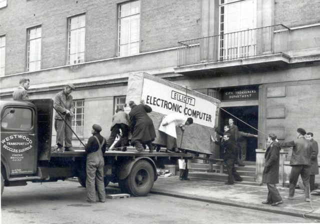 Computer being delivered to Norwich City Council, 1957