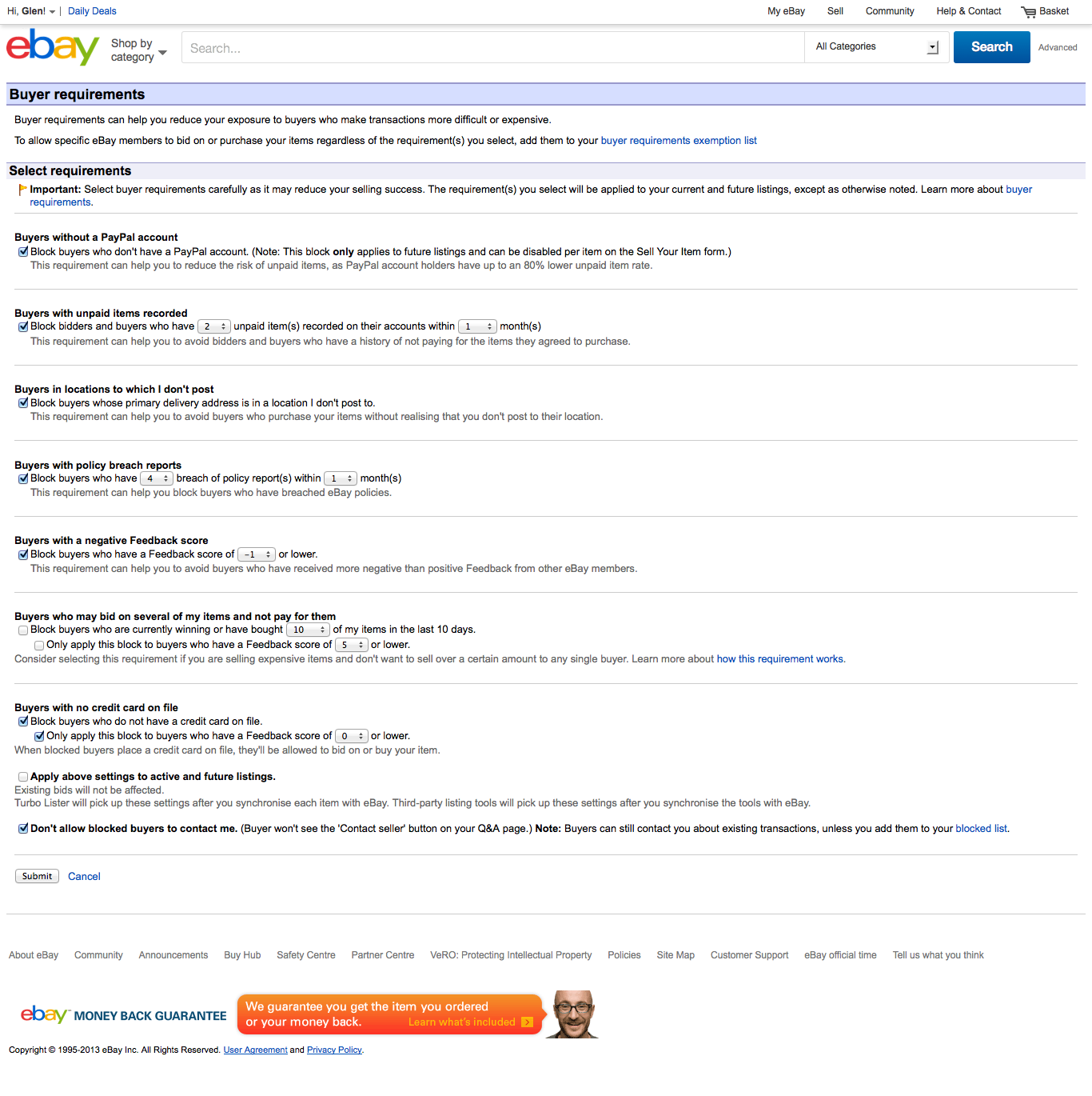 Block 0 feedback bidders ebay