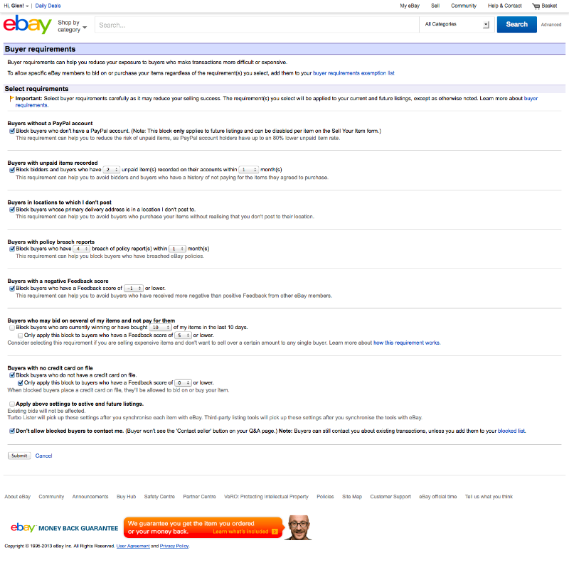 Buyer requirements recommended settings for eBay sellers