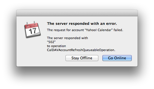 iCal error message when syncing with yahoo! calendar